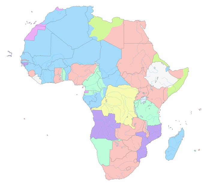 Map of European claims in Africa, 1913. Modern-day boundaries, largely a legacy of the colonial era, are shown.
