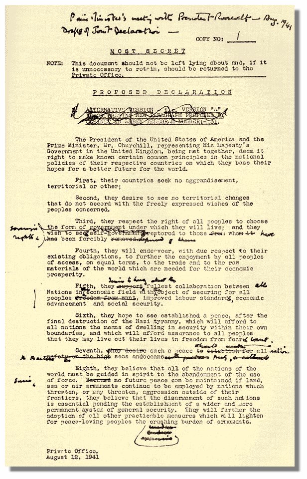 Image of Winston Churchill's edited copy of the final draft of the Atlantic Charter.