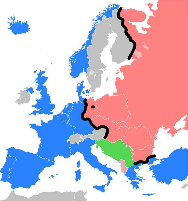 The Iron Curtain depicted as a black line. Warsaw Pact countries on one side of the Iron Curtain appear shaded red; NATO members on the other shaded blue; militarily neutral countries shaded gray. The black dot represents Berlin. Yugoslavia, although communist-ruled, remained largely independent of the two major blocs and is shaded green. Communist Albania broke off contacts with the Soviet Union in the early 1960s, aligning itself with the People's Republic of China after the Sino-Soviet split; it appears stripe-hatched with grey.