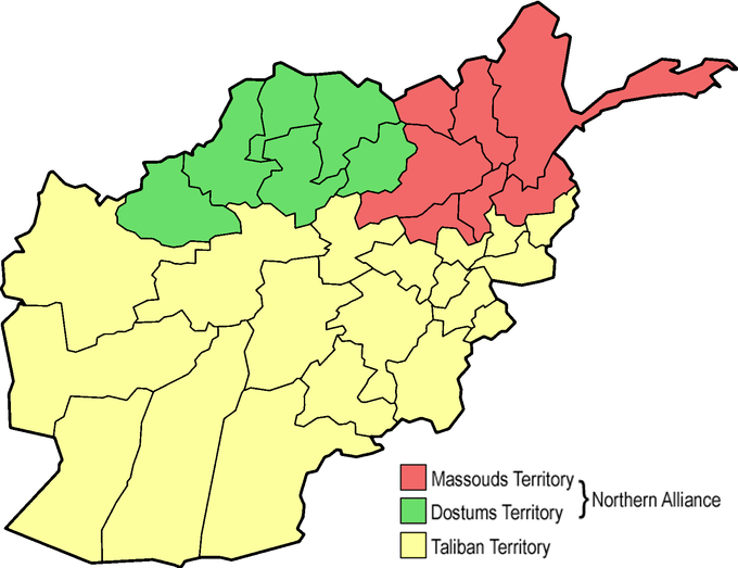 The map shows that the southern two thirds of Afghanistan was Taliban territory. The remaining third of the country was divided between Dostums territory in the northwest and Massouds territory in the northeast. The Dostums territory and Massouds territory together comprised the Northern Alliance.