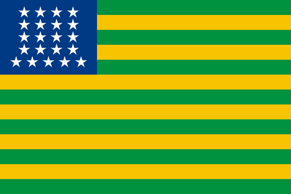 The flag has thirteen horizontal stripes, alternating green and yellow. The left hand corner has a blue square with 17 white stars in it.