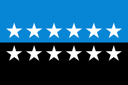 The flag is comprised of two horizontal stripes-- a blue stripe on top and a black stripe on the bottom. There are six white strips at the bottom of the blue stripe and six white stripes at the top of the white stripe.
