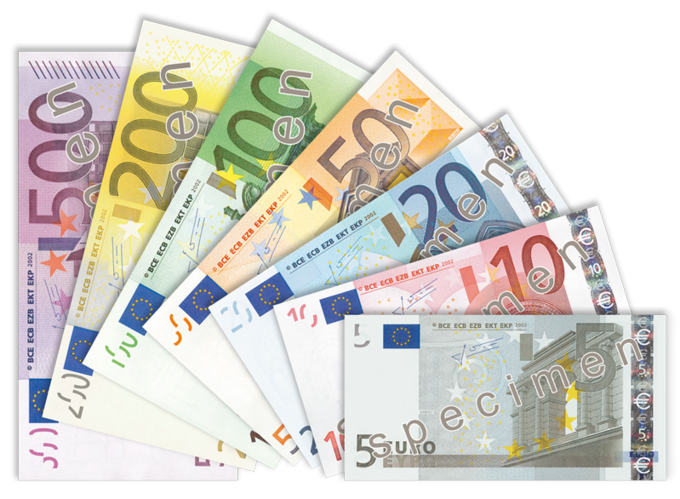 The image shows the 5, 10, 20, 50, 100, 200, and 500 euro banknotes.
