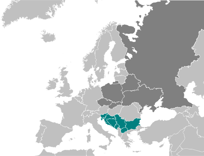 The maps shows that Slavic is the national language in Slovenia, Croatia, Bosnia and Herzegovina, Montenegro, Serbia, Macedonia, and Bulgaria.