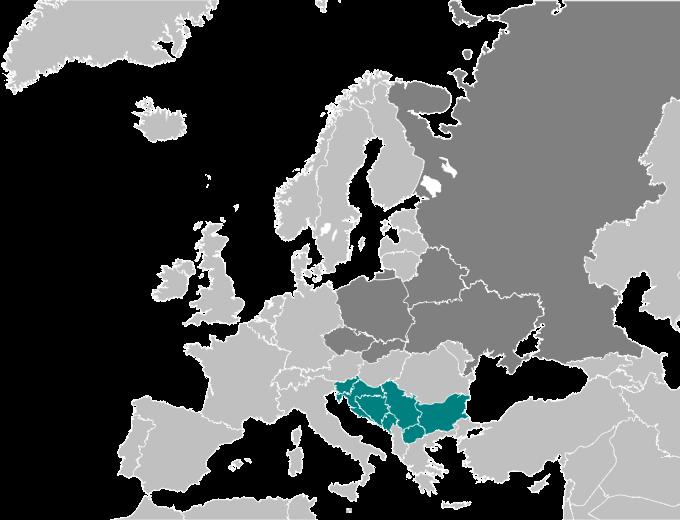 Os mapas mostram que o eslavo é a língua nacional na Eslovênia, Croácia, Bósnia e Herzegovina, Montenegro, Sérvia, Macedônia e Bulgária.
