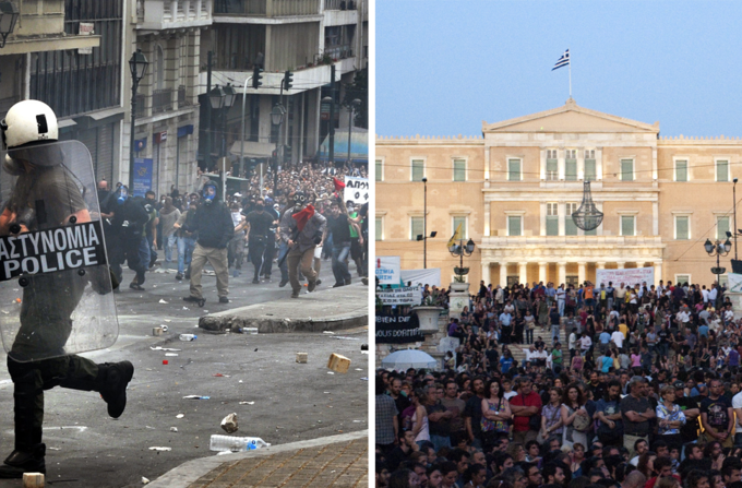 The photograph on the left shows a violent protest in 2010. The photograph on the right shows a peaceful protest in 2011.