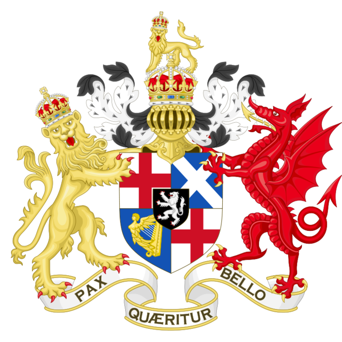 "The coat of arms shows a golden lion on the left wearing a jeweled crown and a red dragon on the right. They stand atop a banner that reads ""Pax Quaeritur Bello."" The golden lion and the red dragon are holding a shield between them displaying four flags (two English flags, one Scottish flag, and one Irish flag) and a white lion. Above the shield is a gold armored feathered headpiece. Above the crown sits a small gold lion wearing a jeweled crown."