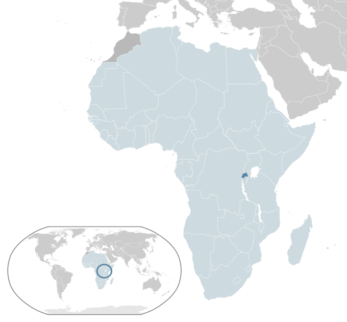 The map shows the location of Rwanda. Located in central and east Africa, Rwanda is one of the smallest countries on the African mainland. Located a few degrees south of the Equator, Rwanda is bordered by Uganda, Tanzania, Burundi and the Democratic Republic of the Congo.