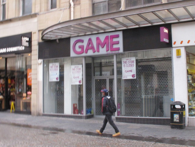 An exterior view of a street business called GAME.