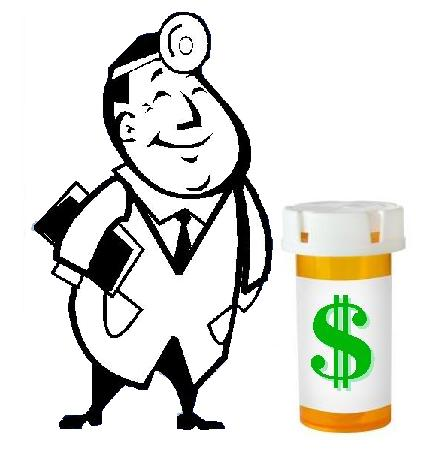 A cartoon doctor, smiling and standing next to a prescription pill bottle with a dollar sign on its label.