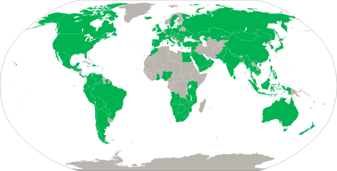 The map is overwhelmingly green with the exception of large areas of Africa and the Middle East.