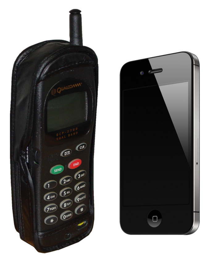 A cell phone from 1997 next to a smartphone.