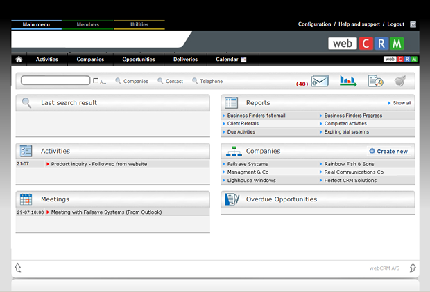 A screenshot from an example CRM system, WebCRM.