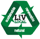 """A green recycle sign that says """"sustainable, renewable, natural."""""""