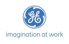 "General Electric's logo with ""imagination at work"" written under it."