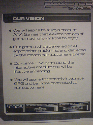 Powereo Games's Vision written in four bullet points aiming to make lives better for costumers.