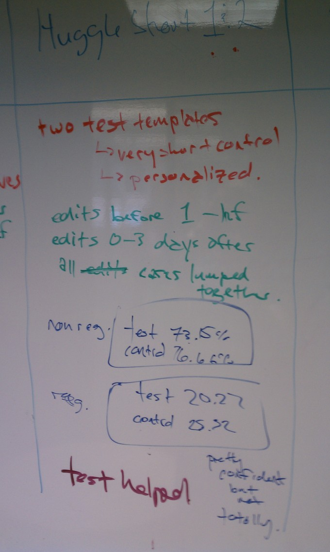 Notes on a dry erase board.
