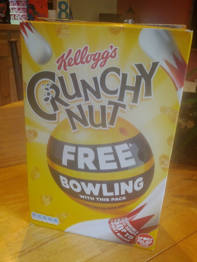 Kellogg's Crunchy Nut Cereal with Free Bowling in the pack