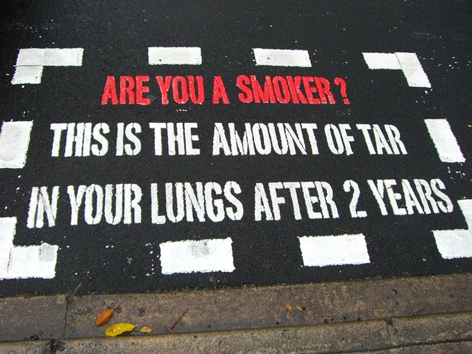 An anti-smoking message painted on a pedestrian crossing in the Orchard Road area in Singapore.