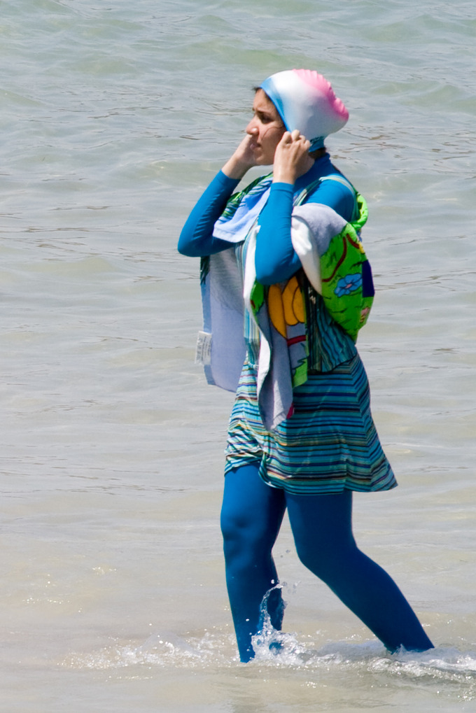 "Woman wearing ""burqini"" swimwear in Egypt."