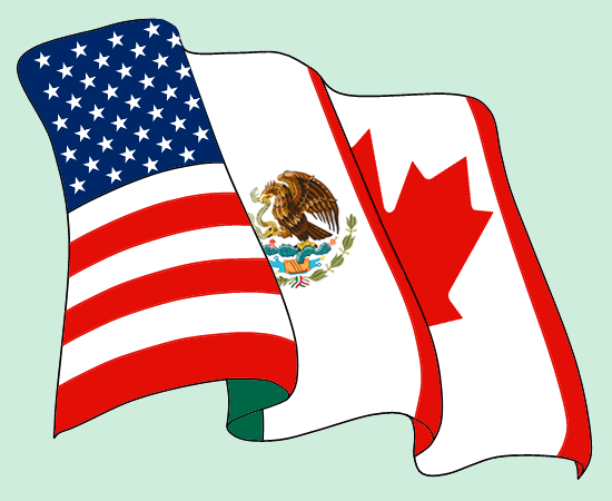 A flag that's made up of the three countries in NAFTA - the US, Mexico, and Canada.