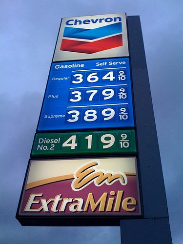 A Chevron gas sign.