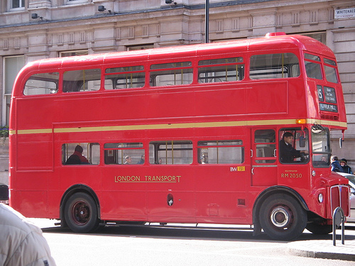 A double-decker bus in London.