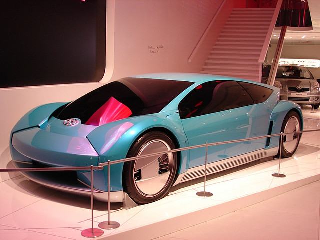 A Toyota car prototype on display.