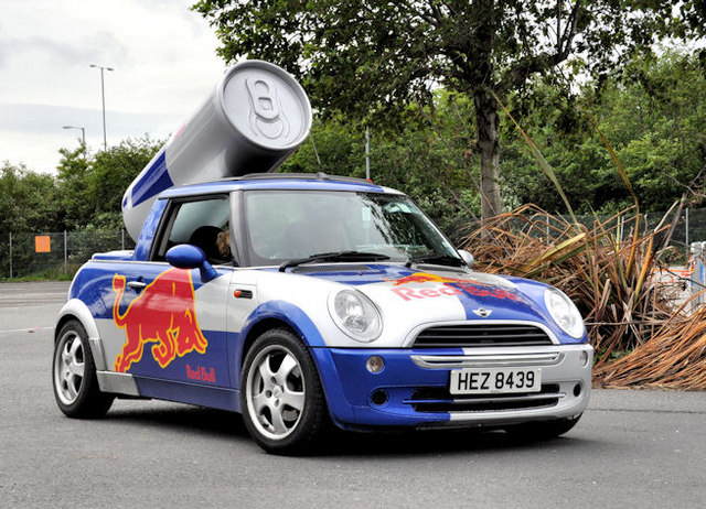 A Red Bull mini truck that's used for test marketing.