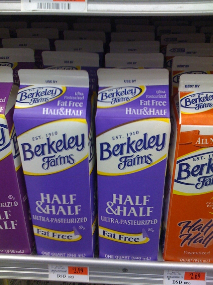 Cartons of fat free Half&Half.