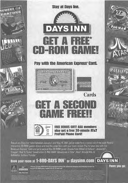A sales promotion flier for a deal between Days Inn and American Express.