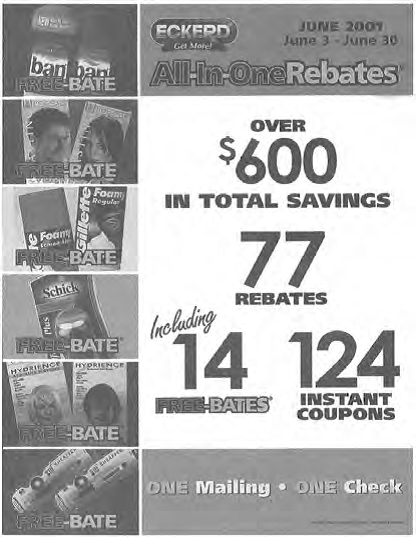 A sales promotion flier that highlights product rebates.