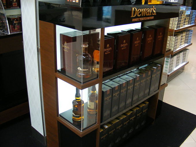 A display of Dewar's Scottish whiskey.