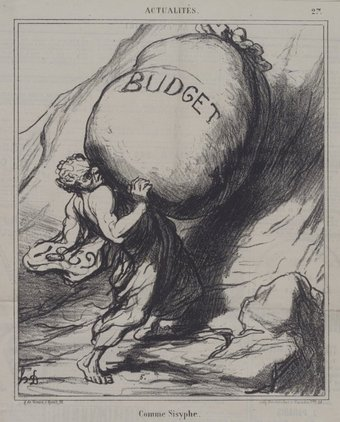 "An illustration called ""Honoré Daumier"" that's displayed at the Brooklyn Museum. A man is pushing a large bag labeled ""budget"" up a hill."