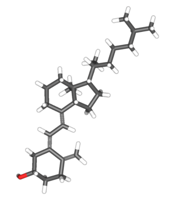 This illustration shows a molecular model of the chemical structure of Vitamin D.