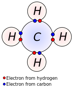 lewis dot dragram for methane: methane, with molecular formula ch4, is  shown  the electrons are color-coded to indicate which atoms they belonged  to before