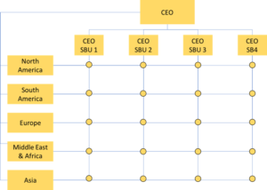 An organizational structure with the CEO at top, four CEOs of SBUs below, and five geographic locations also under the CEO along the side