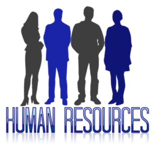 "Silhouettes of male and female employees, under which are the words ""Human Resources."""