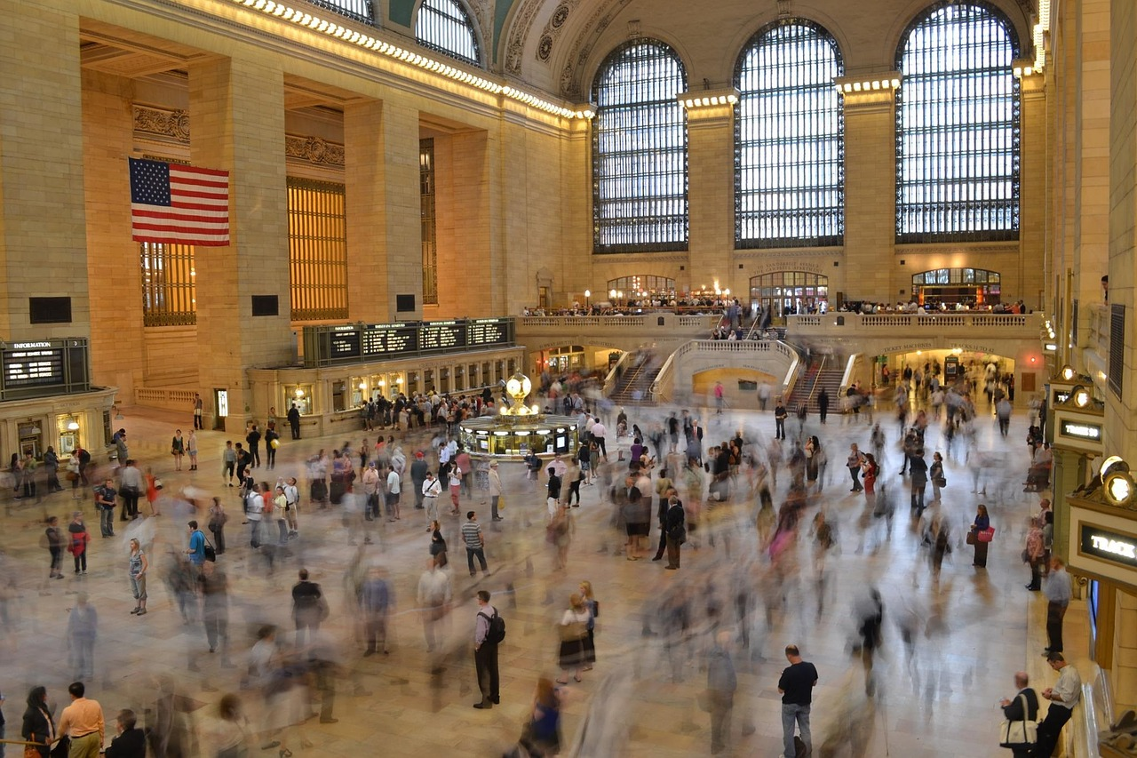 Lots of people inside Grand Central Station in New York.