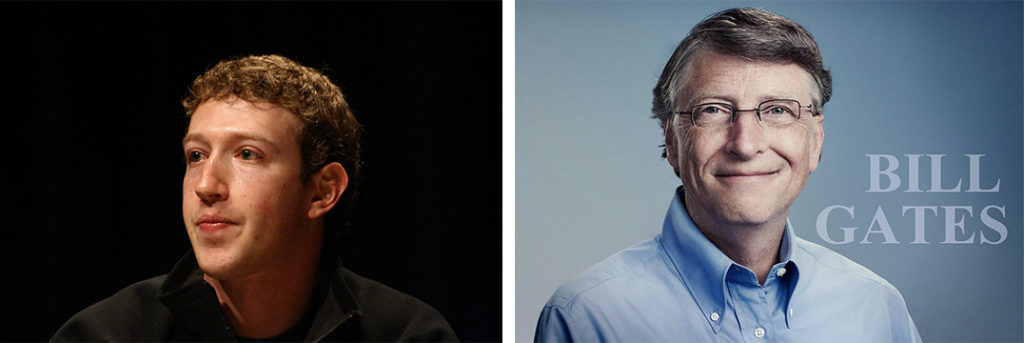 Two photos. The first is a picture of Mark Zuckerberg with black background. The second is a picture of Bill Gates with his name written beside him .