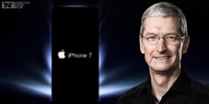 Picture of Apple CEO, Tim Cook, with an iPhone 7 beside him