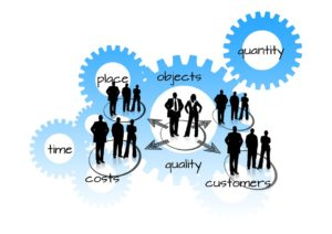 Figures of businesspeople in front of gears with the words time, place, objects, quantity, costs, quality, and customers in different areas of the gears