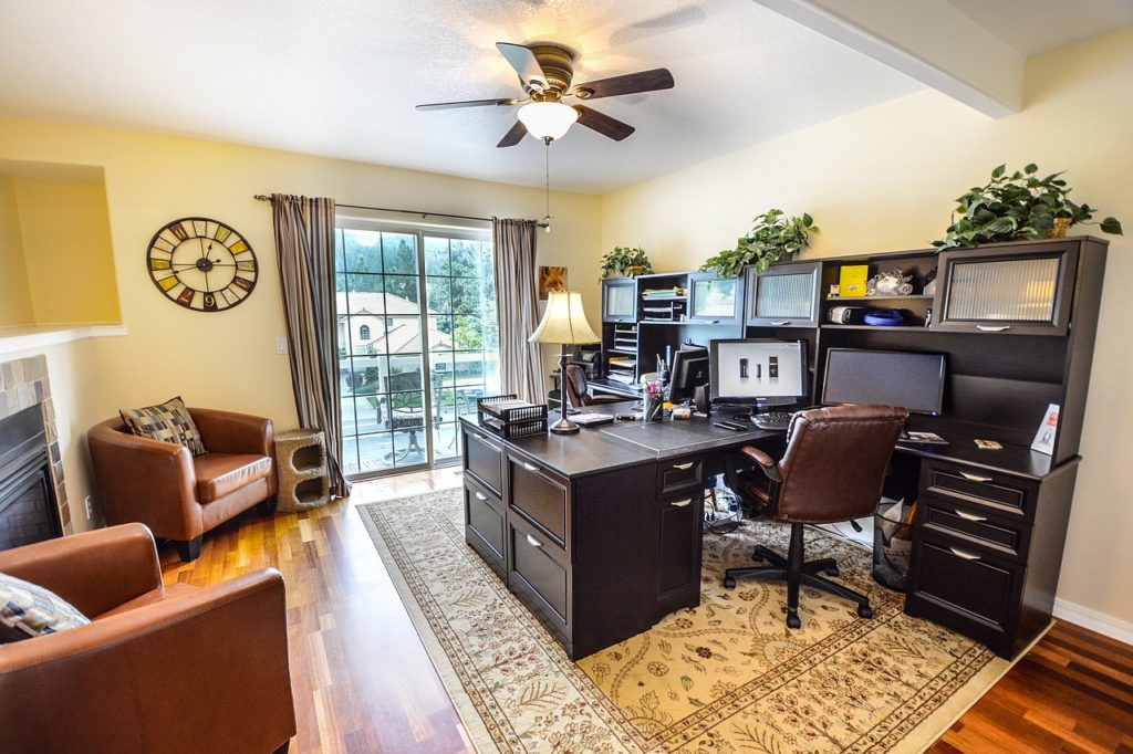 Image of living room and home office