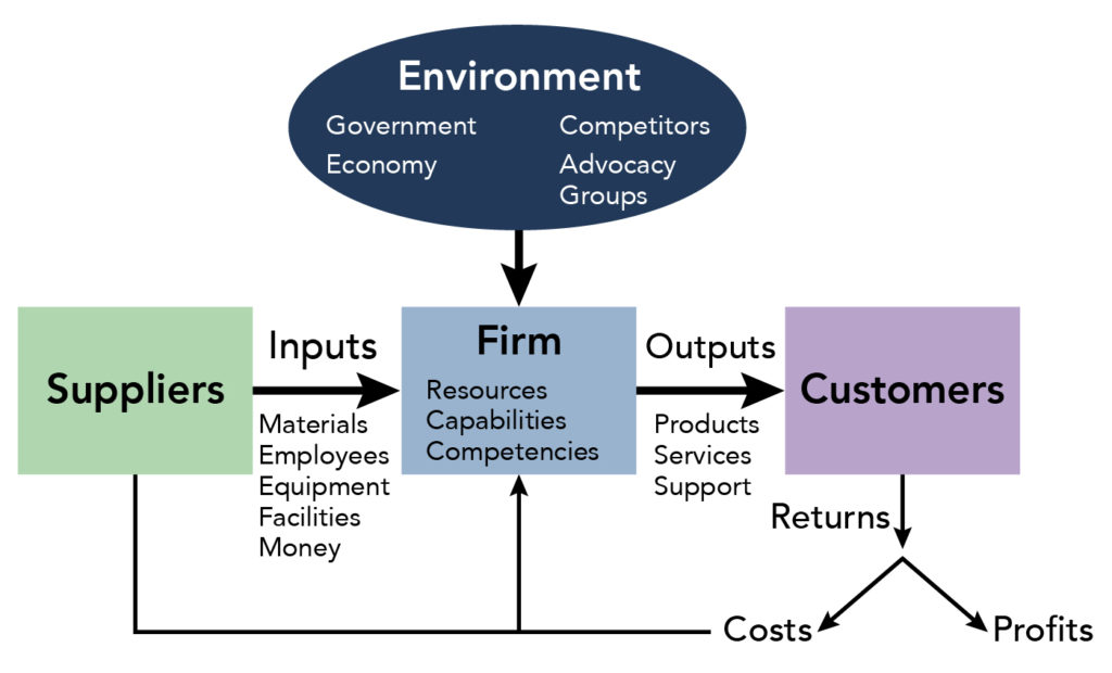 Suppliers provide inputs to the firm. Inputs include materials, employees, equipment, facilities, and money. The environment that the firm operates in includes government, competitors, the economy, and advocacy groups. The firm has resourses, capabilities, and competencies to produce outputs for customers. These outputs include products, services, and support. Providing outputs to customers returns profits and costs.