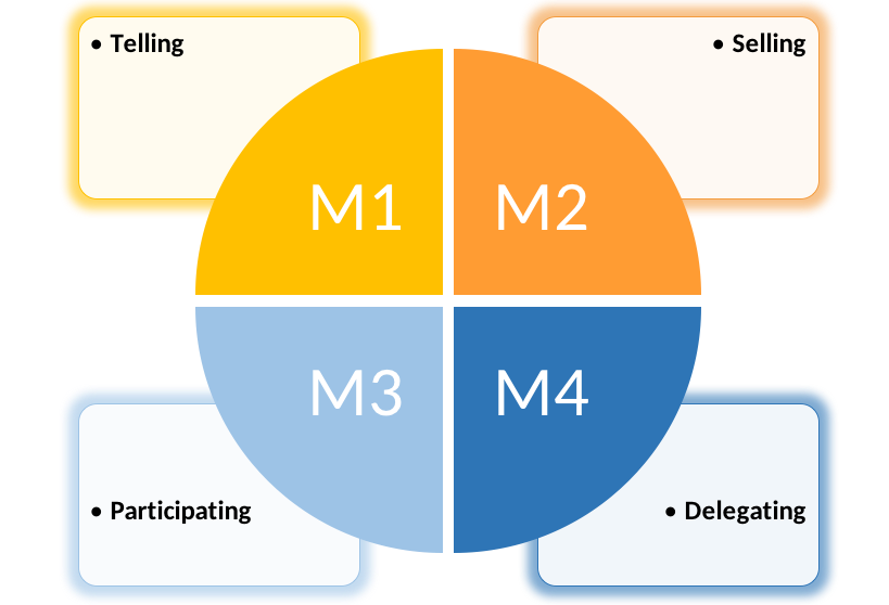 M1 corresponds to telling style, M2 corresponds to selling style, M3 corresponds to participating style, and M4 corresponds to delegating style