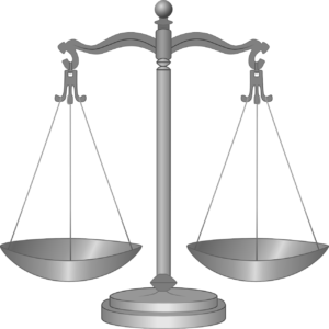 A balance scale showing equilibrium, with both sides at the same level