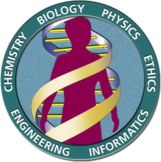 The human genome project's logo is shown, depicting a human being inside a DNA double helix. The words chemistry, biology, physics, ethics, informatics and engineering surround the circular image.