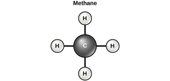 Diagram of a methane molecule.