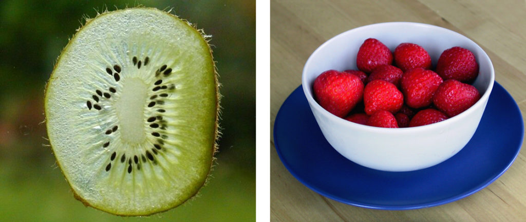 Photographs show a thin slice of a green kiwi fruit and a bowl of strawberries.