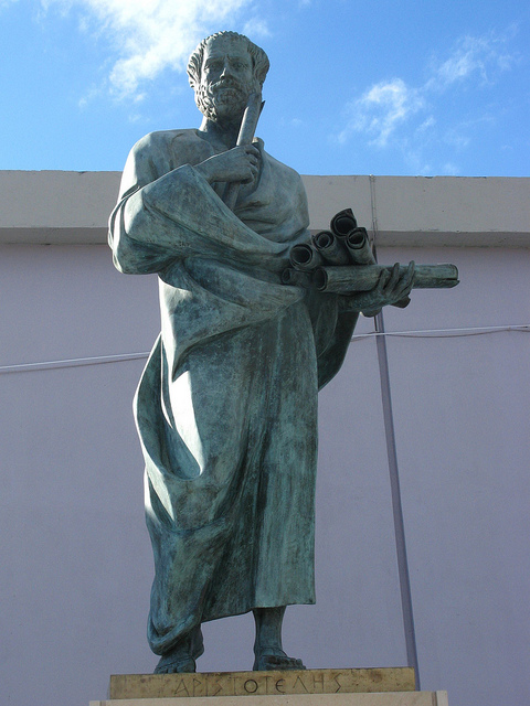 A picture of a statue of Aristotle located at Aristotle University of Thessaloniki, Greece.